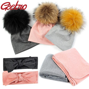 Geebro Newborn Baby Girls Boys Winter Cotton Stretch Beanies hats Real fur pompom Baby Kids Bedding quilt blanket headband set
