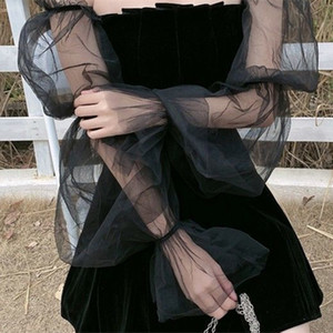 Women Dress Vintage Gothic Dresses Aesthetic Transpanent Strap Pleated Woman Dress Chic Punk New Goth Dark Dress for women