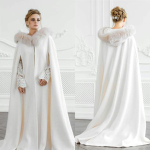 Ivory Hooded Bridal Warm Long Wedding Cloaks Fur Coat Capes Wicca Robe Jackets Christmas Hallowmas Accessories Bolero