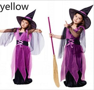 Girl Cosplay Witch Dress With Hat 2pcs 2020 children's Fantasy Girls Halloween Costume Baby Girl Cosplay Dress Baby Girl Clothes