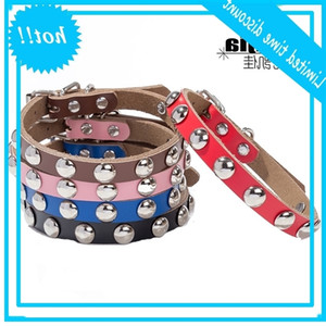 Mushroom rivet pure cow leather belt dog chain pet collar Yiwu