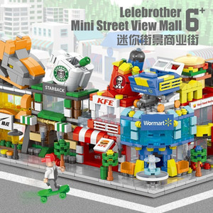 1Building blocks mini street view urban commercial street building model children boys and girls puzzle assembly stall toy puzzle