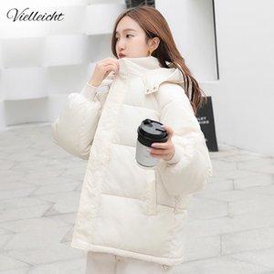 Vielleicht New Short Winter Women's Jacket Loose Style Female Hooded Women Parkas Plus Size Cotton Down Jacket Women Coat 201109
