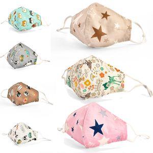 masques masque vente chaude design masque facial enfants de poussière de bande dessinée petite fleur cerf impression masque en tissu de coton lavable avec filtre