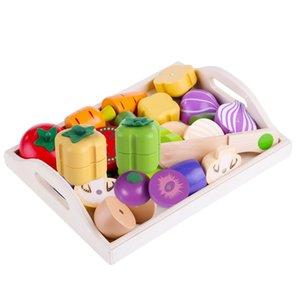 Manyetik Ahşap Meyve Ve Sebze Kombinasyonu Kesme Mutfak Oyuncak Seti Çocuk Oyna Pretend Simulation Playset Çocuklar Eğlenceli 201021