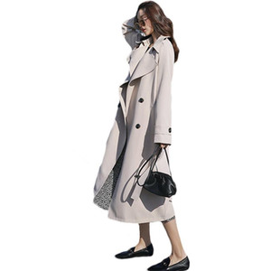 2021 NEW Spring Autumn Long Trench Coats For Women Double breasted Windbreaker Female Outerwear 62B
