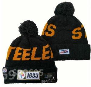 Rayado de lujo de la línea lateral Steelers Gorros Sport Abofeteado Gorro de lana de lana del capo Warm Caps Hip Hop hizo punto barato del cráneo para Hombres Mujeres a12