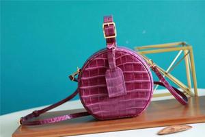 트렌디 한 유명한 Petite Boite Chapeau 가방 원래 악어 트림 캔버스 Hatbox 어깨 가방 크로스 바디 메신저 봉투 가방 핸드백 M43514