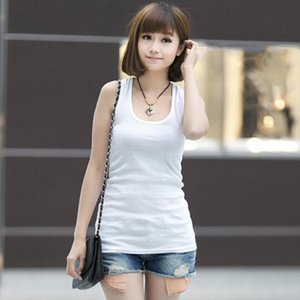 5 Colors Summer Cotton Self cultivati Sleeveless Camisole tops Sexy Low cut Basic T shirts Tank Top womens short T shirt