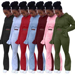 Donna Tute Autunno Inverno sexy di colore solido Flared manica Flared Pants 2 pezzi Top Set con cappuccio Sweatersuit a manica lunga