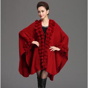 Fashion Trend Women Rabbit Fur Poncho Shawl Coat Long Knit Cashmere Cape Fur Sweater Pashmina Autumn Winter New LJ201203