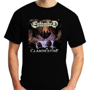 спорт Entombed Clandestine T-Shirt рыхлой с коротким рукавом Черная мужская футболка