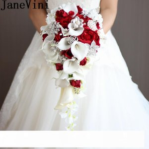 JaneVini 2018 Vintage Red Rose Bouquet With Crystal Waterfall Bridal Pearl White Wedding Bouquet Artificial Flowers Bride Brooch CJ191223