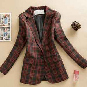Red plaid blazer Long-sleeved suit jacket women 2021 spring autumn British loose retro casual suit