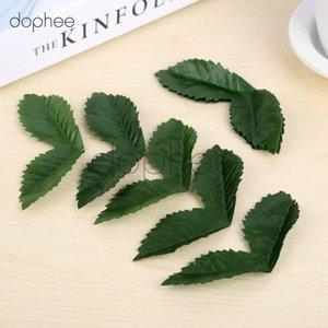hojas de flor artificial dophee 50pcs para materiales de decoración de la boda de bricolaje seda flores hoja Craft ytrq #