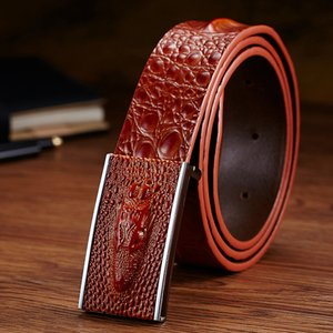 New fashion luxury embossed crocodile pattern genuine leather elegant male men business casual designer belts 3d slide automatic buckle