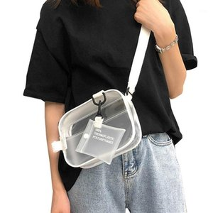 Flap1 Transparent Holder Clear Causual Crossbody Phone Shoulder Bags Handbag Woman Small Bag With Card Jelly Wide Straps PVC Hnkau