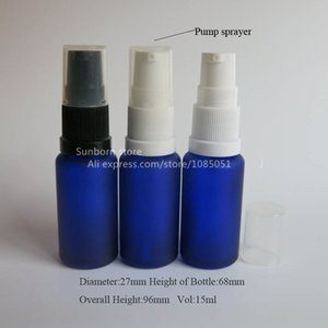 500 x 15 ml cobalt blue frosted glass bottle with lotion pump, cosmetic cream pump