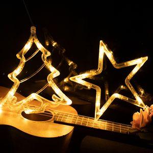 LED Noel ışık dize vantuz asılı lamba Yıldız dize ışıklar pencere oda dekorasyon Bells Kar tanesi Ağacı CZ102601A ışıkları