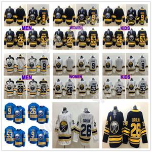 Costumbre 2021 Buffalo Sabres jerseys 9 Azul marino Jack Eichel Hockey 26 Rasmus Dahlin 53 Jeff Skinner 50º Home Royal blanca cosida Hombre Niños
