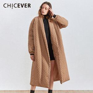 CHICEVER Korean Plaid Cotton Coat For Women Lapel Collar Lantern Sleeve Oversize Loose Casual Long Female Parkas Winter New 201104