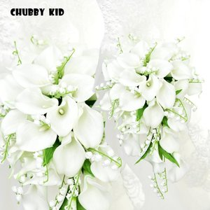 Long Artificial PU calla lily Bell orchid Teardrop-shaped holding flowers Waterfall-shaped wedding bridal bouquet white blue