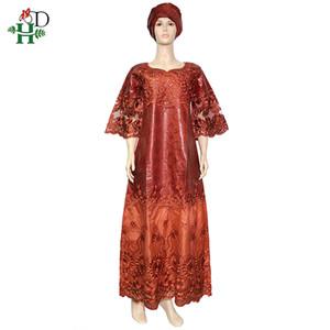 HD Yüksek Kalite Bazin Nakış Elbise İçin Kadınlar Afrika Fransız Dantel Elbise Bayanlar dashiki Maxi Robe Africaine Femme 2020