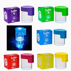 Cookies LED хранения JAR увеличительное стекло контейнера аккумуляторная медицина коробка стекла шкафы барабаны DAB 155ML вакуумная бутылка для сухого травы табака