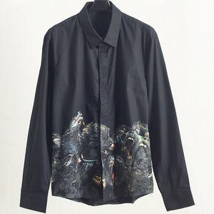 Fashion Mens Stylist Long Sleeve Shirts Black Dog Head Print Spring Autumn Shirts Solid Color Men High Quality Shirts T Shirt