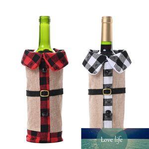 2Pcs Christmas Lapel Wine Bottle Cover for Christmas Decoration Restaurant Hotel Home Decoration
