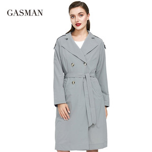 Gasman New Outono Mulheres Windbreakers Moda Oversize Mulheres Preto Dupla Trench Trench Coat Feminino Solto Trench Outwear 201221