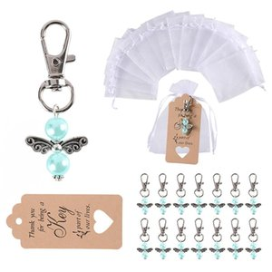 50 PCS Wedding Party Angel Keychain Ring White Blue Key Chain Baby Shower Favors Pendant Gifts Christmas Gifts
