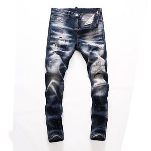 Men Jeans New Fashion Mens Stylist Black Blue Jeans Skinny Ripped Destroyed Stretch Slim Fit Hop Hop Top Quality Brand Denim pants jeans