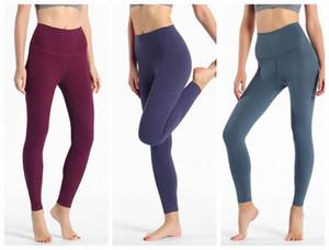 LU-32 Fitness Atlético Sólido Pantalones de yoga sólidos Mujeres Chicas de cintura alta Running Yoga Trajes Damas Deportes Completos Leggings Ladies Pantalones Entrenamiento Q T3DC #
