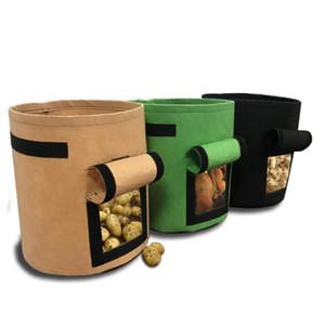 4 7 10 Gallon Plant Grow Bags Visualizzazione Visualizzazione di tessuto addensato pesanti Piantatura pentole per verdure di patate con maniglie a flap Giardino 134 N2