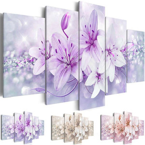 Modern Painting Canvas Prints Wall Art 5 Pieces Lily Flower Print For Living Room Modular Paintings Living Room Home Decoration