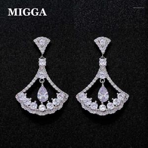 Migga Exquisite Fan en forma de zirconia cúbica Sector de Gotas de Agua Pendientes Pendientes Mujeres Brincos Zircon Jewelry1