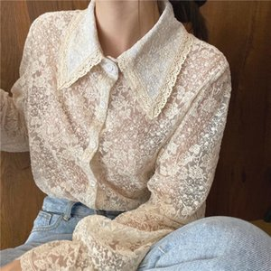 Embroidery Lace Flower Blouse Ruffles Flare Sleeve Shirt Top Women Vintage Design Fancy Chemise Femme Renda Blusa Mujer Camisa