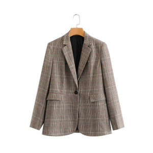 liva girl Women Plaid Blazer Autumn spring 2020 Long Sleeve single Breasted Coat Jacket Office Lady Casual Outerwear