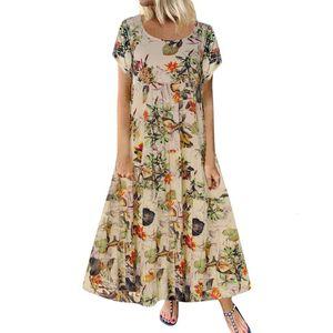 lady Summer Dress Casual Short Sleeve Long Dress Cotton and linen Boho Floral Print Maxi Dress O-neck Elegant Dresses