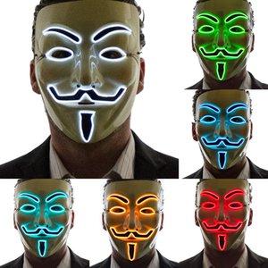 Máscara contra Cosplay Vendetta Anonymous Led Máscaras del partido del festival de disfraces de Halloween de neón Luz Hasta Fawkes mascarada Hombres Mujeres calientes de la venta 6R00