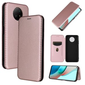 For Xiaomi Redmi Note 9 5G Carbon Fiber Texture Magnetic Horizontal Flip TPU PC PU Leather Case with Card Slot