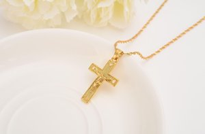 Men 24 K Solid Gold Gf Cross Necklaces Wholesale Crucifix Pendant Women Jewelry Fashion Jesus Decoration Dress sqcUZKQ dh_seller2010