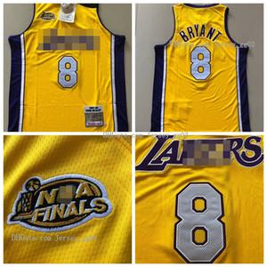 Los Angeles erkeklerLakersKobe8Bryantnba Yeşil ikinci, sarı formaları basketbol forması Mitchell Ness 1999-1900finalşampiyon