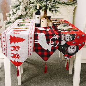 Christmas decorations electric embroidered knitted cloth table flag creative Snowman elk table flag elk meal mat tablecloth