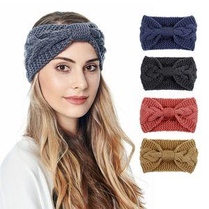 13 colors bowknot Knitted Headband Women Winter Sports Hairband Turban Yoga Head Band Ear Muffs Cap Headbands Party Favor FF413
