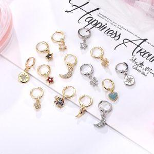 Hecheng 1pair pequenos brincos de argola Atacado Moda Zircon cor de ouro brincos de caracteres para mulheres de jóias