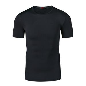 Camiseta Hombres Moda Color Sólido Causal Skinny Top Hip Hop Marca Ropa S-2XL Summer Transpirable Fitness Ropa