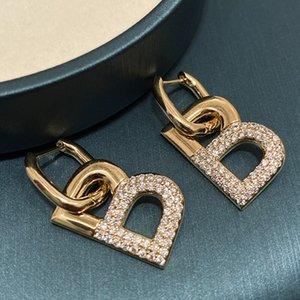 Metal Elmas Zirkonya Mektubu B Geometrik Küpe Moda Lüks Tasarımcı Kolye Saplama Küpe Kadın Kızlar Için Hediyeler S925 Gümüş Post