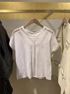 2020 Spring and Summer New Elegant Lady Round Neck Lace Decoration All-match Short-sleeved T-shirt for Women